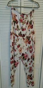 Pants - Ambiance Womens White Floral Jumpsuit w Drawstring